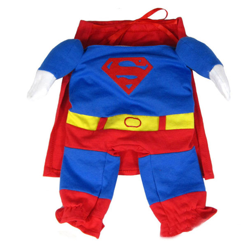 Cute Superman Style Dog Clothes Halloween Fashion Costumes Puppy Jumpsuit Summer/Autumn Cotton Pet Clothing