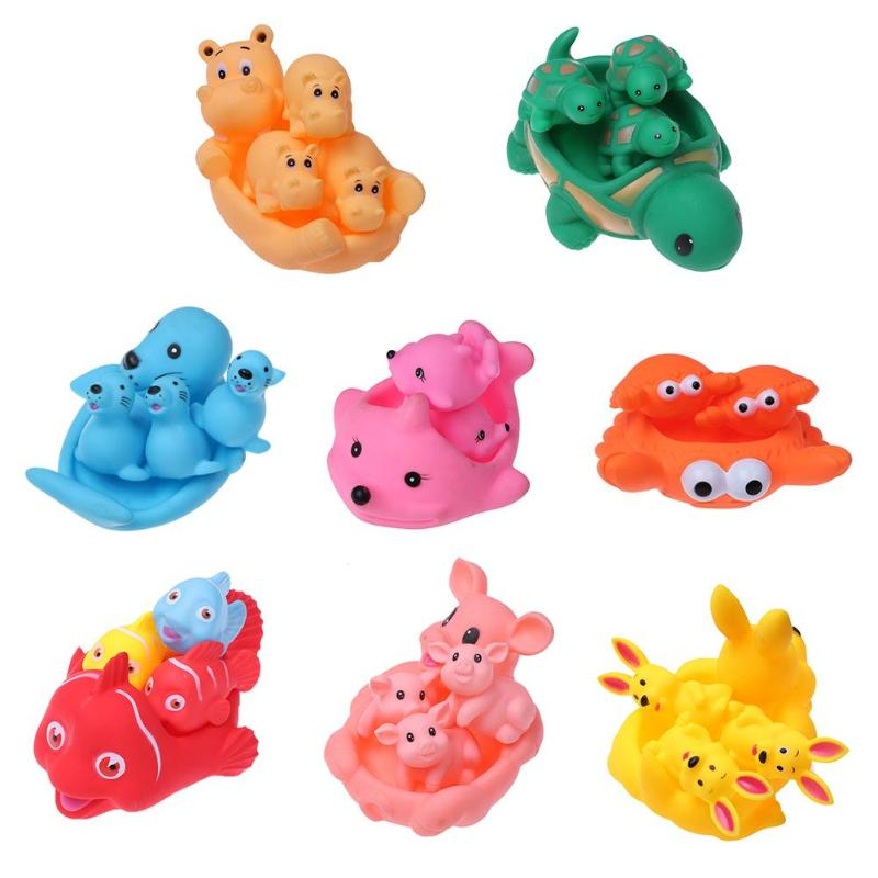 4Pcs Cute Soft Baby Bath Toys Rubber Duck Animal Float Squeeze Sound Mini Wash Bath Play Toys Kids Educational Toys