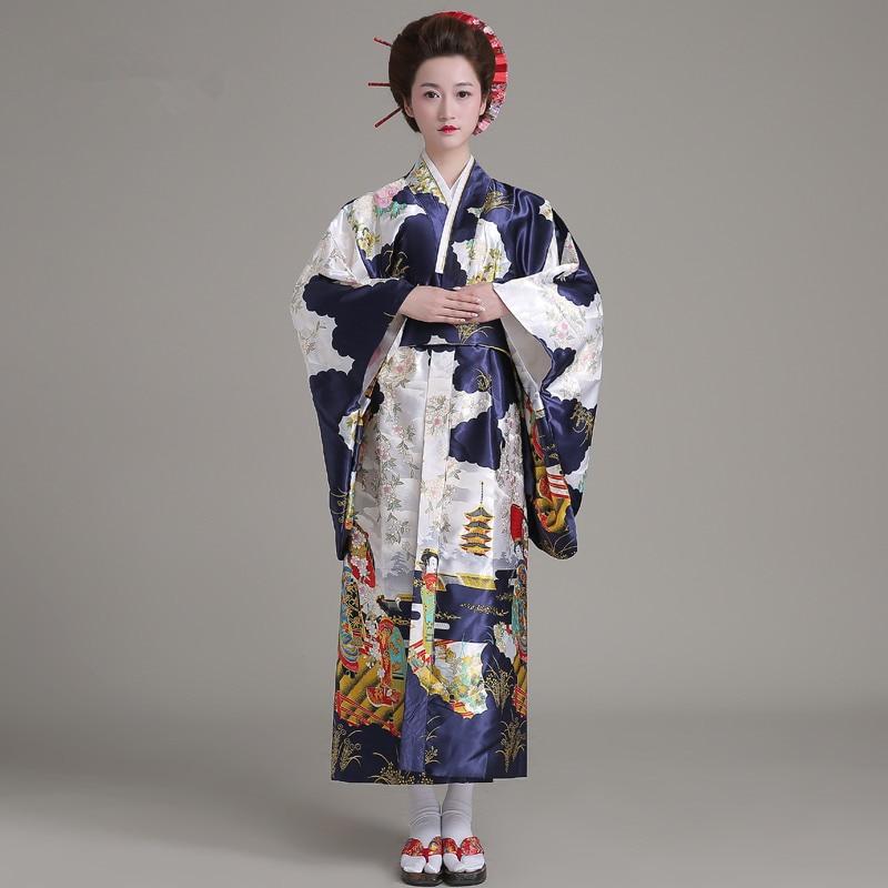 Горячие Продажа Мода Женщины Кимоно Хаори Юката С Оби Темно-Синий Японский Стиль Вечернее Платье Азии Одежда Quimono HW035