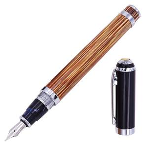 Image 2 - Duke 552 Executive Fountain Pen Natural Golden Stripe Bamboo Medium Nib Advanced Chrome Plating for Office Business School Gift