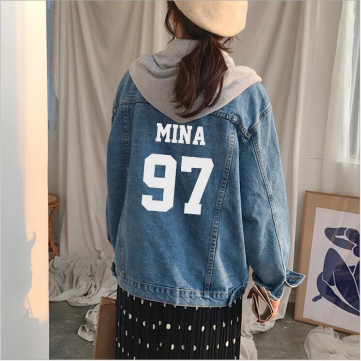 2018 Новый kpop дважды сочетание Момо же пункте с длинными рукавами Свободная джинсовая куртка в Корейском стиле Колледж ветер Для женщин пальт...