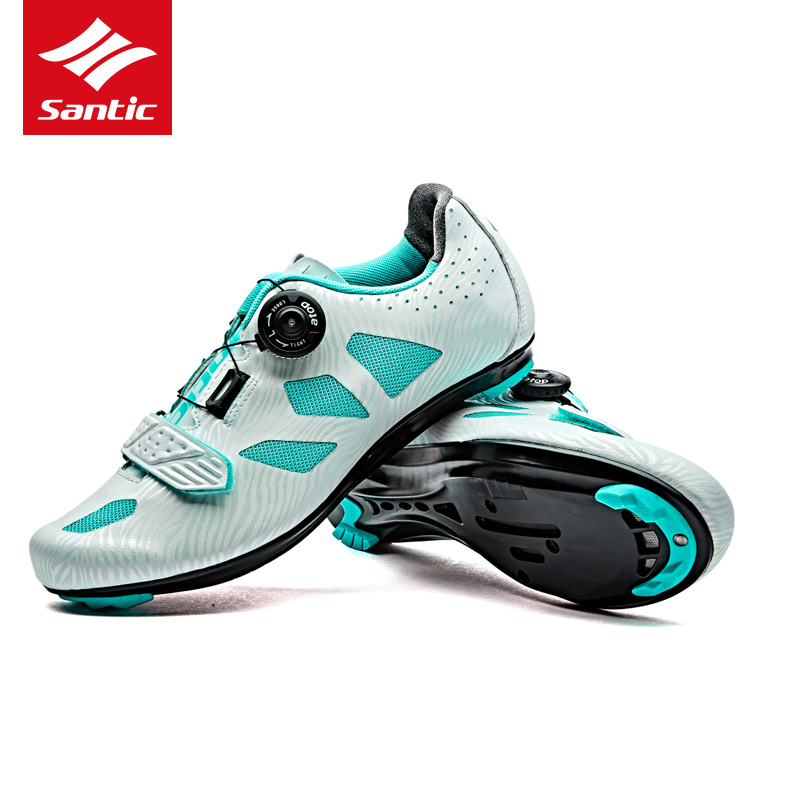 Santic 2017 Women Cycling Shoes Lace-up Nylon Sole Road Bike Shoes Lady Sneakers Athletic Racing Bicycle Shoes for Riding