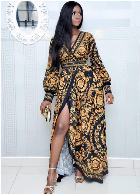 Spring vintage Print Maxi Dress  4