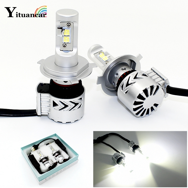 Yituancar 2X LED Car Headlight Hi/Lo Beam Integration Auto Bulb 6000LM White 6500K Luxeon MZ Source Styling DRL Front Fog Lamp