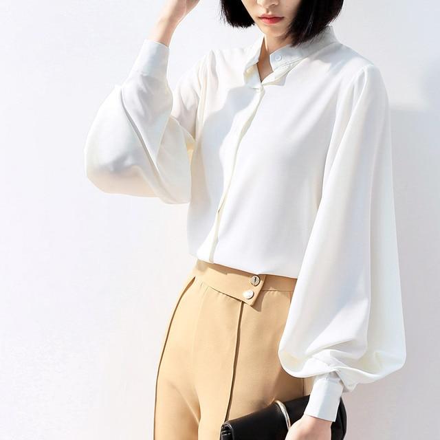 954333f8f2a6 € 14.38 17% de DESCUENTO|Aliexpress.com: Comprar Camisa de gasa para mujer  con mangas de linterna Tops 2019 nueva ropa de diseñador de moda coreana ...