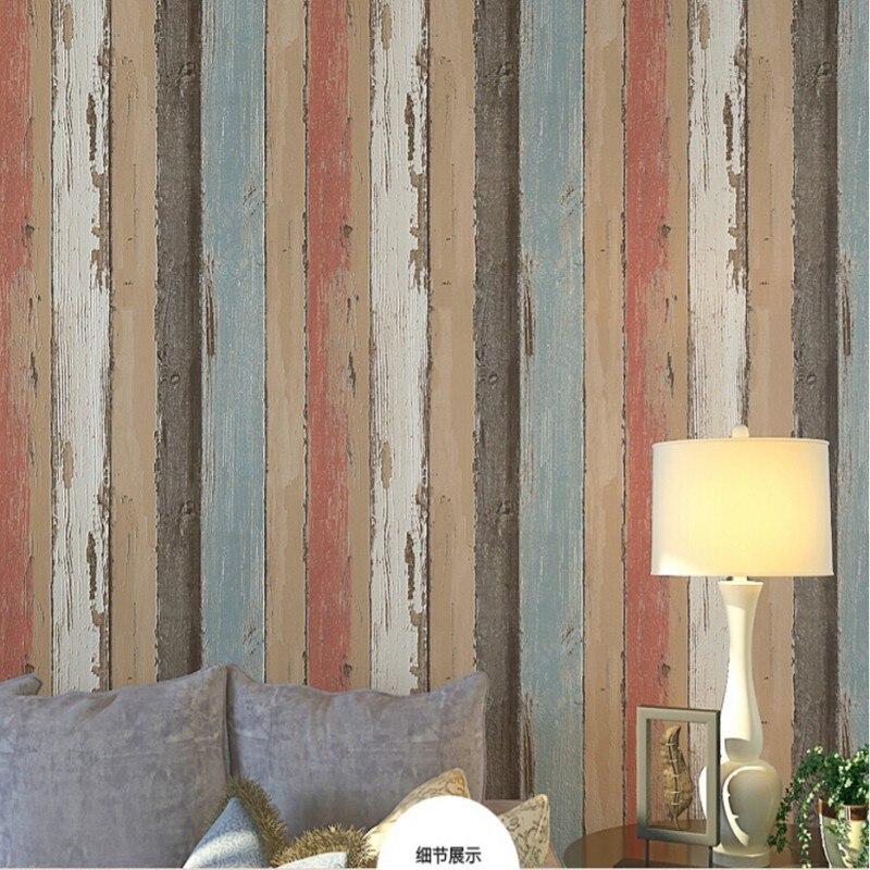 Beibehang papier peint pour murs 3d rétro nostalgique bois plancher bois papier peint Restaurant café TV toile de fond étanche 3d papier peint - 2