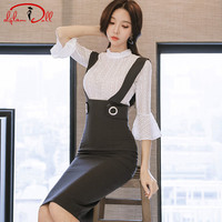 2018 Spring Two Piece Casual Suits White Flare Sleeve Lace Blouse Top Strap Pencil Bodycon Skirt