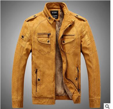 Loldeal 2018 Mens Stand Collar Parka New Velvet Leather Jacket Casual Wear Leather PU Leather coat Masculino