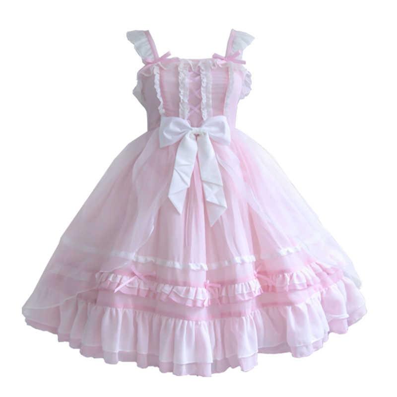 フレンチロリータ王女甘い女性のちょう結びレーストリムサスペンダードレスメイド夏毎日妖精ファルバラノースリーブ jsk ドレス