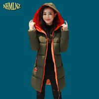 Winter Long Section 2017 New Fashion Warm Women Cotton Coat Solid Color Fur Collars Long Sleeve