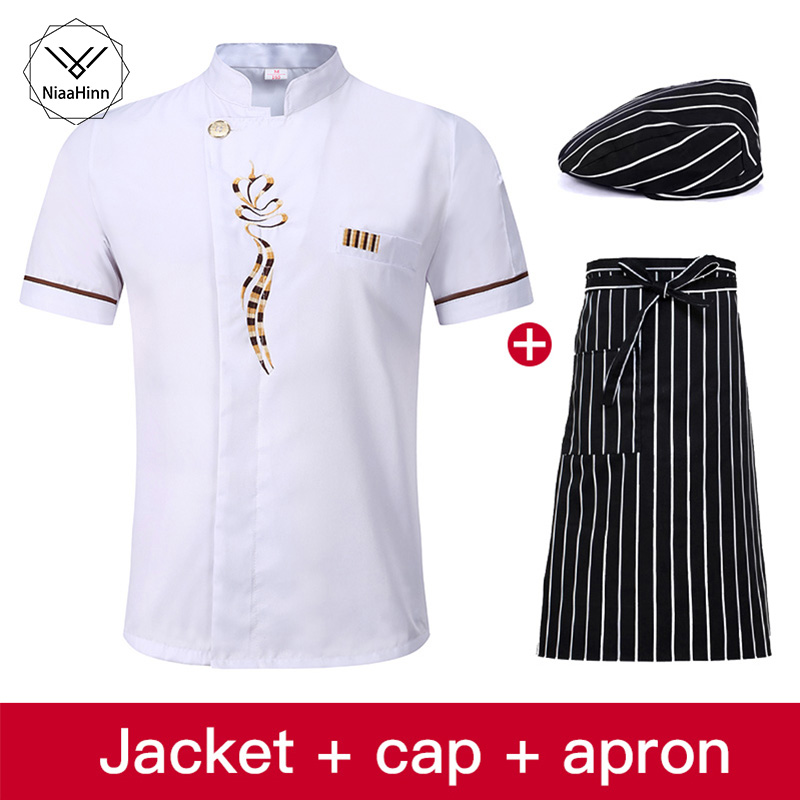 White Short Sleeve Hotel Best Executive Chef Coats Shirt Ladies High Quality Master Chef Uniforms Jacket+Chefs Hat+Beauty Apron