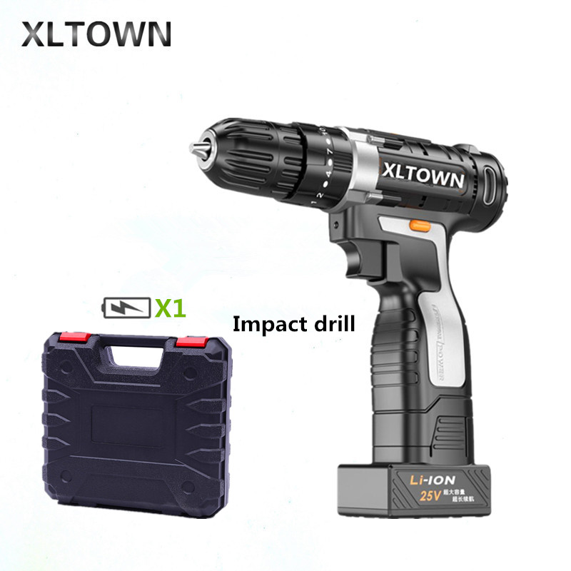 XLTOWN 25v Impact Drill with a box Multifunction Electric Screwdriver Rechargeable Lithium Battery Hand Drill power tools xltown 25v electric screwdriver home multifunction electric drill rechargeable lithium battery electric screwdriver power tools