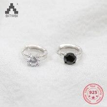 Trendy Sterling Silver 925 High Quality Zircon Stone Earrings White/Black Luxury Daily Wear