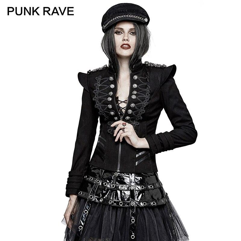 PUNK RAVE Punk Rock Autumn Plate Buckles Gothic Military Uniform Short Jackets Steampunk Coat Autumn Women Harajuku Army Jacket