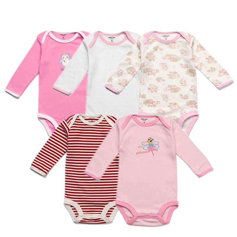 565fe35e13a 5 Packs Baby Bodysuits Original Infant Jumpsuits Autumn Overalls Cotton  Coveralls Boy Girls Baby Clothing Set