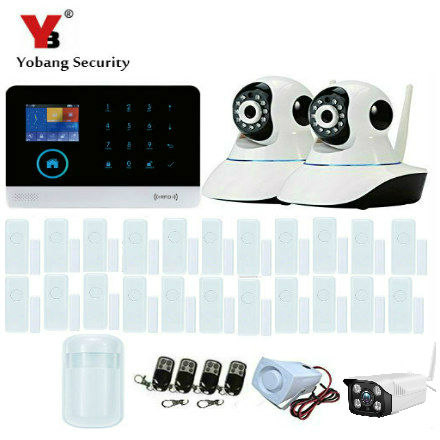 цена на Yobang Security Touch Keypad 433MHz Wireless GSM WIFI DIY Smart Home Security Alarm Systems Kit Outdoor Indoor Video IP Camera