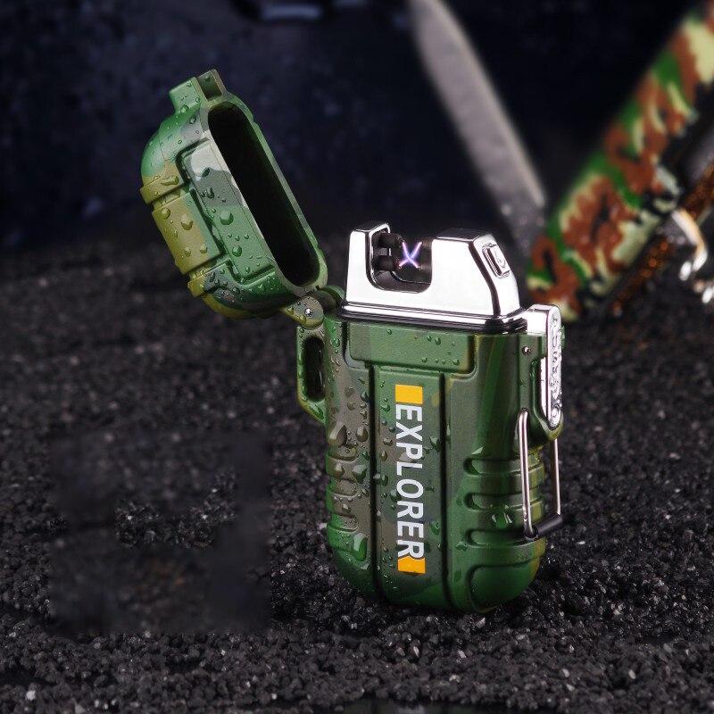 Encendedor de Plasma de doble arco resistente al agua para acampar en la puerta encendedor eléctrico USB para fumar cigarrillos