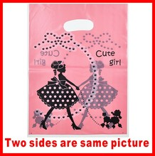 Free shipping cute girl Plastic bags 100pcs/lot 30X40cm Fit clothes jewelry or gift packing Wholesale Packing shopping bags(China (Mainland))