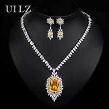 Uilz lujo flor joyería conjunto rectángulo cúbico ZIRCON Pendientes/Collar joyería para la Boda nupcial, níquel libre
