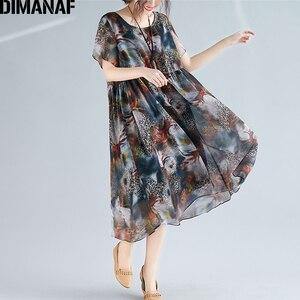 Image 3 - DIMANAF Plus Size Women Beach Dress Print Chiffon Vintage Elegant Lady Vestidos Summer Sundress Loose Casual Female Clothes 2019