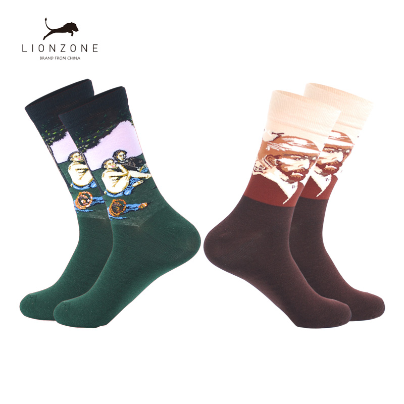 Oil Painting Art Men Crew Socks Hip Hop Casual With Napoleon Jesus Beaty Patterns Combed Cotton Funny Happy Socks 2 Pairs/Lot