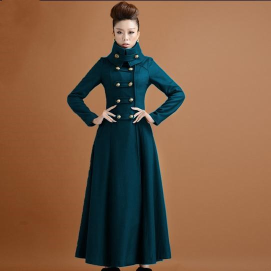 Wool Coat Women Winter Overcoat Stand Collar Double Breasted Ladie Knight Woolen Coat Plus Size 2XL