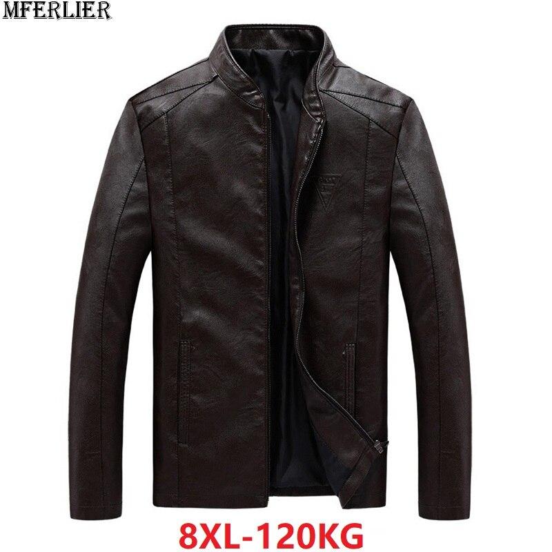 MFERLIER hommes vestes Faux cuir grande taille grand 6XL 7XL 8XL zipper hiver automne décontracté moto noir marron pu vestes manteau