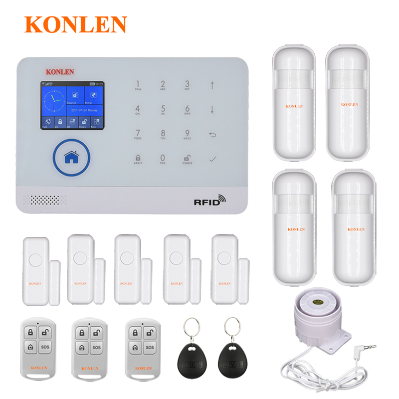 WIFI GSM Home Burglar Security Alarm System Wireless Kits APP Control RFID Card SMS Alert Panel