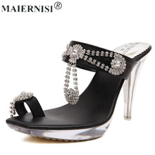 Luxury 2017 women fashion designer brand slipper sandal high heel mule Rhinestones clear shoe for femme female
