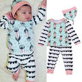 Casual 2pcs Kids Baby Girl Boy Clothes Feather Long Sleeve Tops T-shirt+Long Pants Outfits Set Baby Autumn Clothes