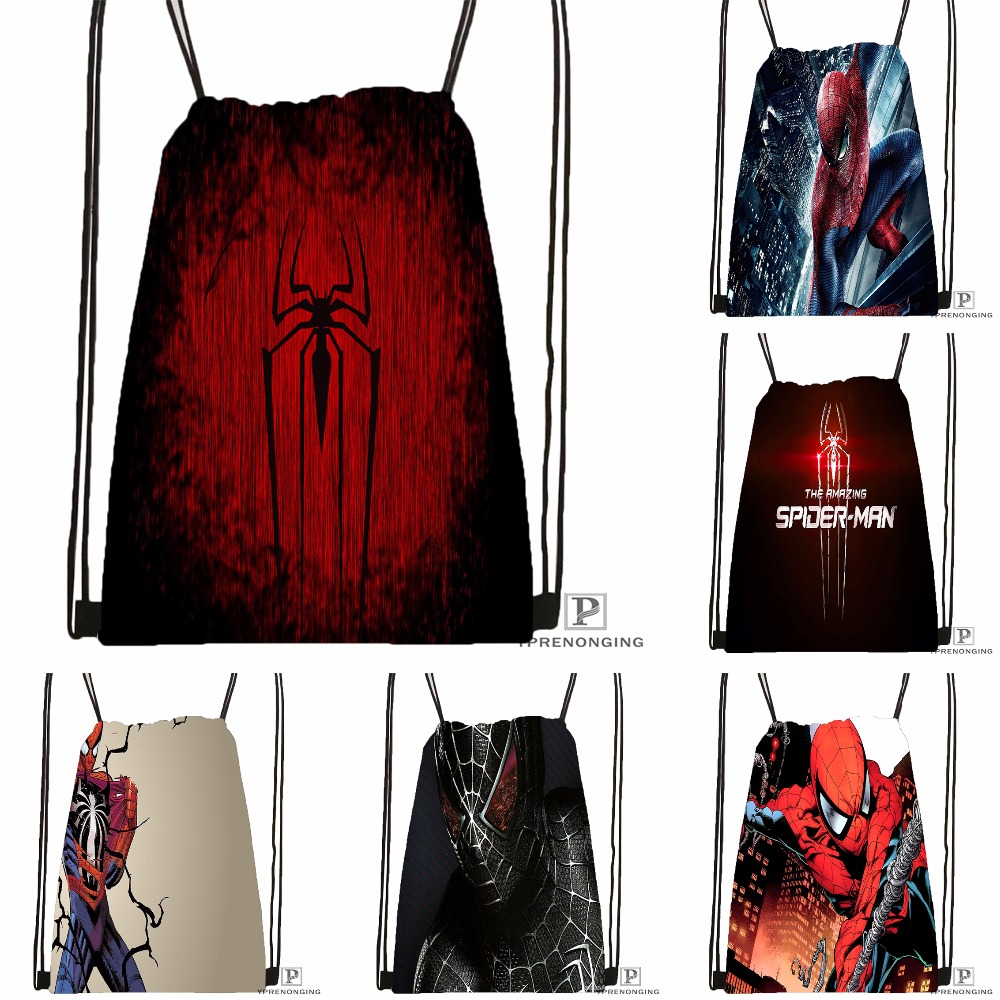 Custom Spiderman Drawstring Backpack Bag Cute Daypack Kids Satchel (Black Back) 31x40cm#180531-04-09