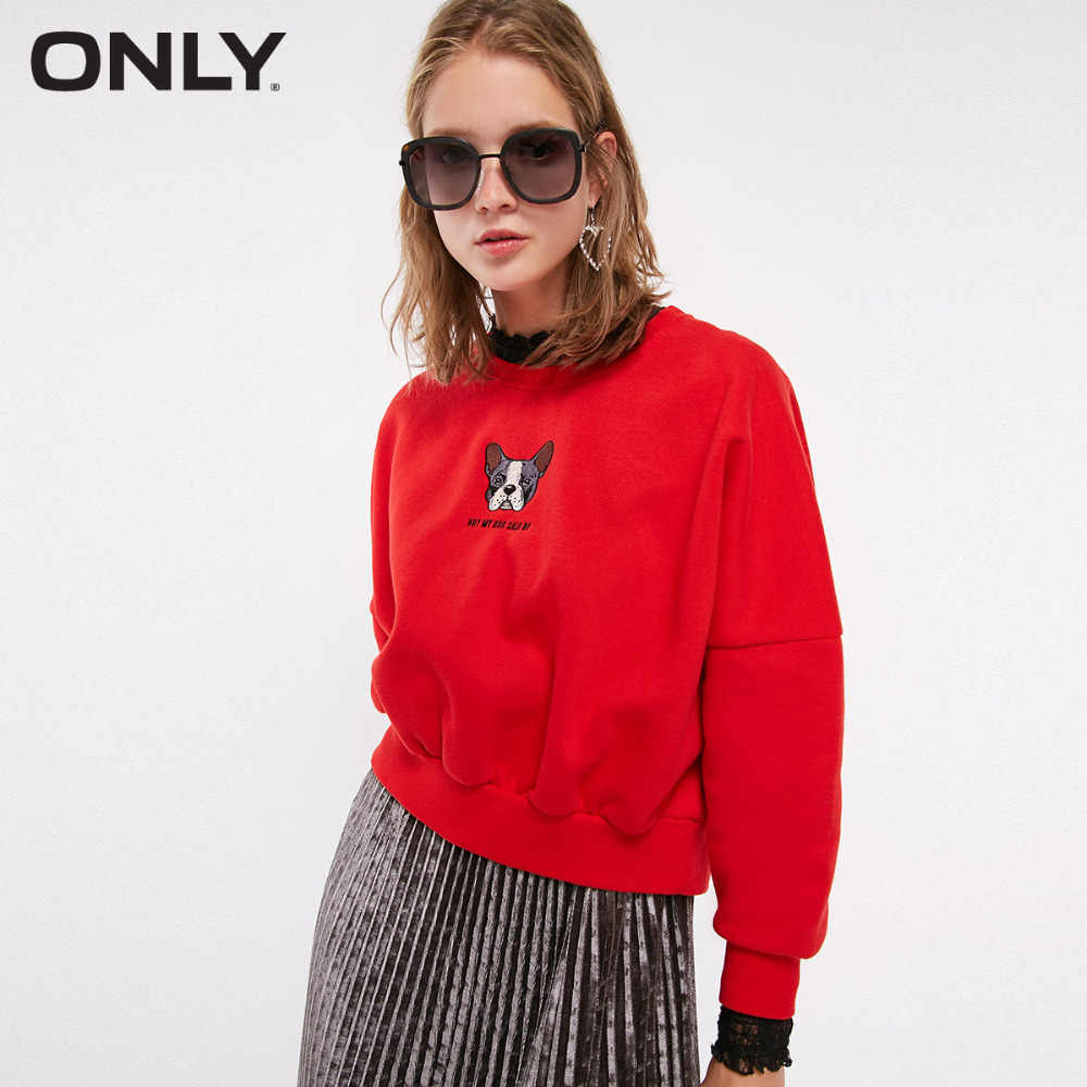 ONLY Women's autumn new cartoon letter embroidery and velvet Hoodie | 11839S521