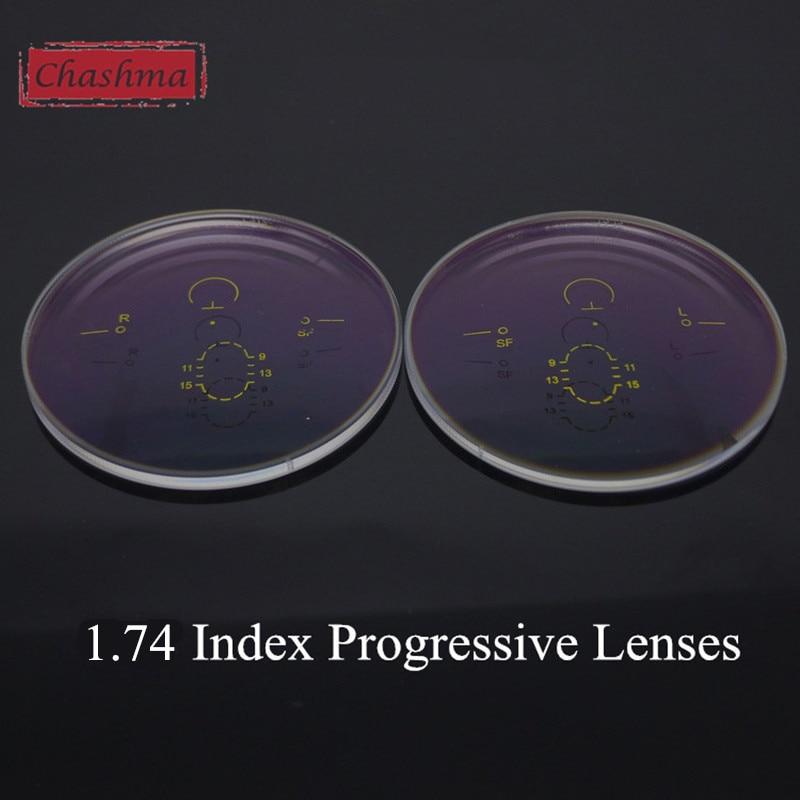 Chashma 1.74 Index Thinnest Clear Color Verifocal Anti Reflective Multifocal Prescription Free Form Progressive Lenses