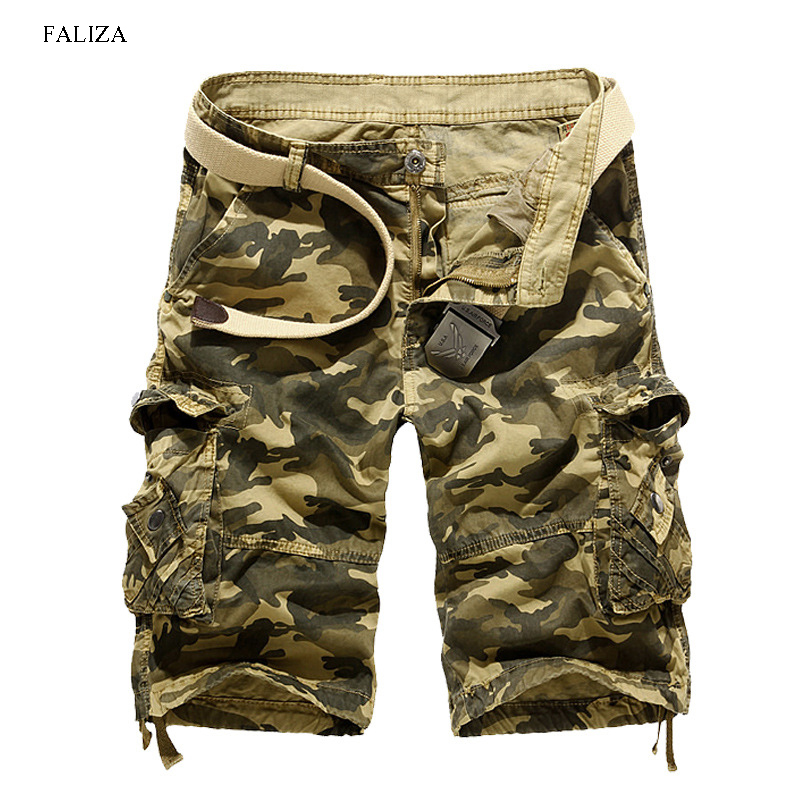 FALIZA US Size 2018 New Summer Mens Camouflage Loose Cargo Shorts Cool Military Camo Short Pant Homme Cargo Shorts No belt DK112