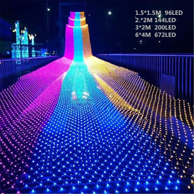Waterproof LED Net Light 1.5 * 1.5M / 96 LEDs 8 Kinds Of Patterns Weaving String Christmas Lights Holiday Light Garden Lamps
