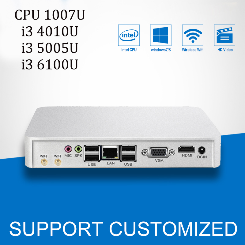 Mini PC Office Computer Core i3 4010U 5005U 6100U Mini Computer Windows 7 Celeron 1007U With CPU Fan HTPC HDMI 6*USB 2g ram mini pc with fan intel celeron 1037u cpu dual core linux embedded computer with rj45