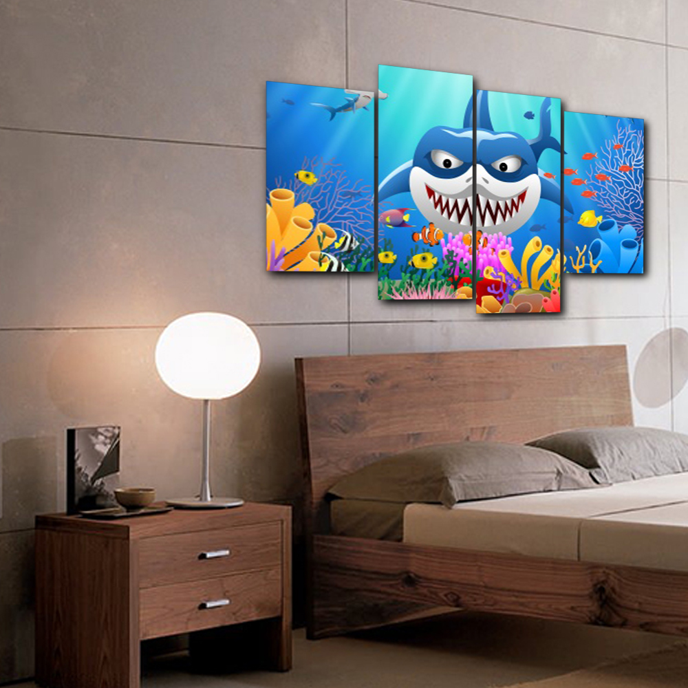 Laeacco Canvas Painting Underwater World Shark Animal Posters and Prints Wall Art Pictures Living Room Nordic Home Decoration in Painting Calligraphy from Home Garden