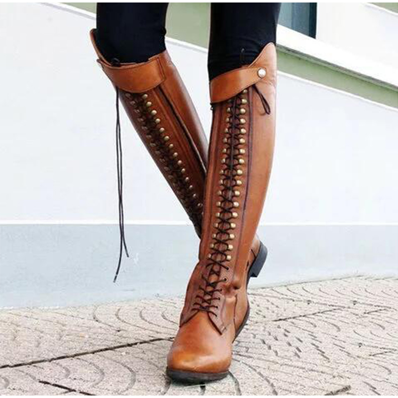 Women knee high boots vintage pu leather lace up riding boots cross tied low heels shoes ladies zapatos mujer chaussures femme(China)