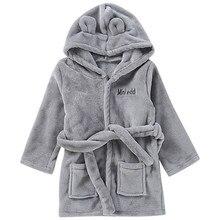 ARLONEET/детский однотонный банный халат из кораллового флиса для малышей, хлопковый плюшевый теплый банный халат с капюшоном, полотенца, пижамы g0519