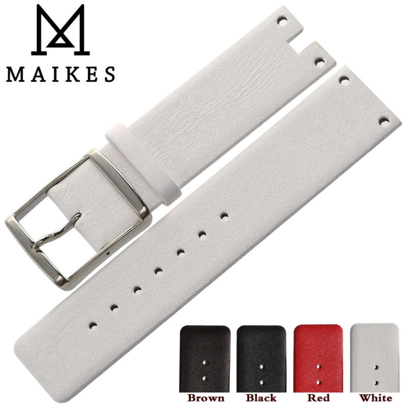 MAIKES New Good Quality Genuine Leather Watchbands Case For CK Calvin Klein K94231 White Black Thin