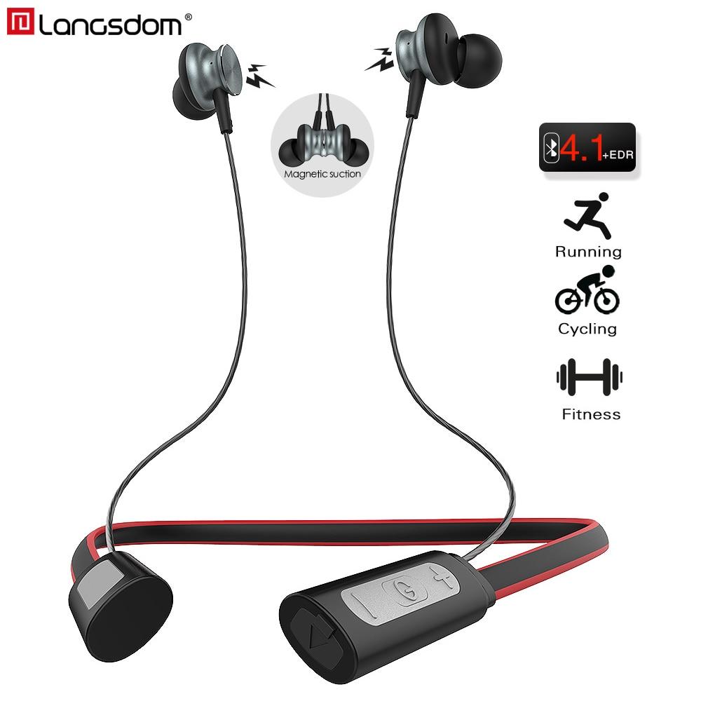 Langsdom Cuffia Senza Fili In Ear Auricolare Bluetooth con Il Mic Neckband Sport Auricolare Auricolari Stereo Auriculare per il Telefono Xiaomi