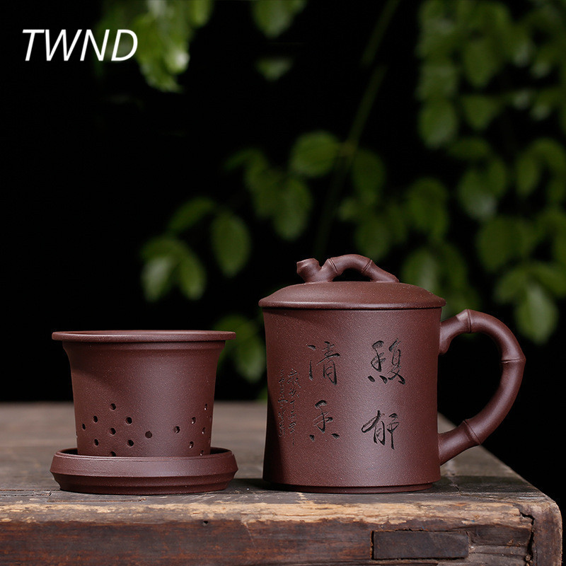 370CC Yixing Tea Cups With Cover Filter Dish Set Chinese Kung Fu Teaware Creative Drinkware