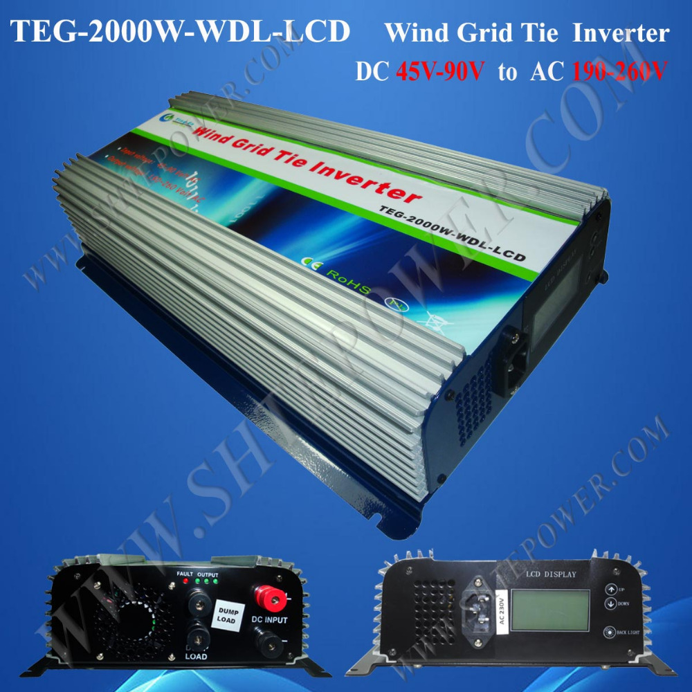 2000W grid tie inverter, wind turbine power inverter DC 45-90V to AC190-260V, frequency converter 2KW