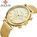 2016 Julius Relojes Para Hombre de Primeras Marcas de Lujo Banda De Malla De Acero Inoxidable Reloj de Hombre de Negocios de cuarzo reloj de Oro Masculino Del Relogio Masculino
