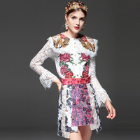 High Quality Fashion Designer Sets Suit 2 Piece Women Floral Embroidery Lace Tops Short Skirt Suit