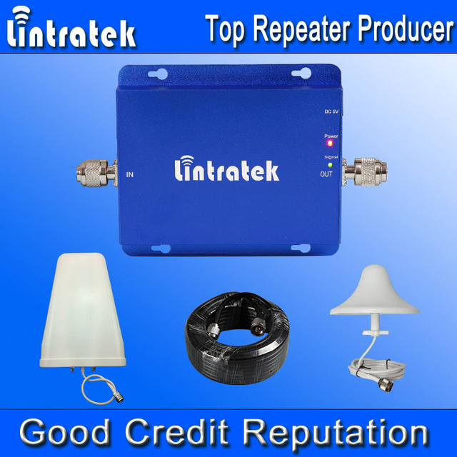 Lintratek 3G Repeater Cell Phone Signal Booster 850 MHz 2100 MHz 65dB Gain Booster Dual Band Signal Amplifier Output 17dBi #9