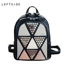 Leftside preppy style verano patchwork mochila femenina escuela bolsas de alta calidad de cuero de la pu mochilas para adolescentes chica