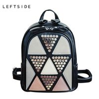 LEFTSIDE Preppy Style Women Backpack Geometric Patchwork Female School Bags High Quality PU Leather Backpacks For