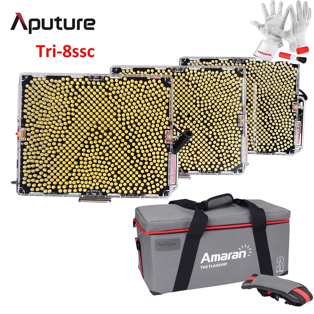 Aputure Amaran Tri-8 Kit 2 Tri-8S 5500K + 1 Tri-8C Bi-Color 2300K-6800K Dimmable Led Video Light Panel w/ Batteries - V Mount aputure aputure vs 2 kit v screen 7 lcd field adv monitor kit black