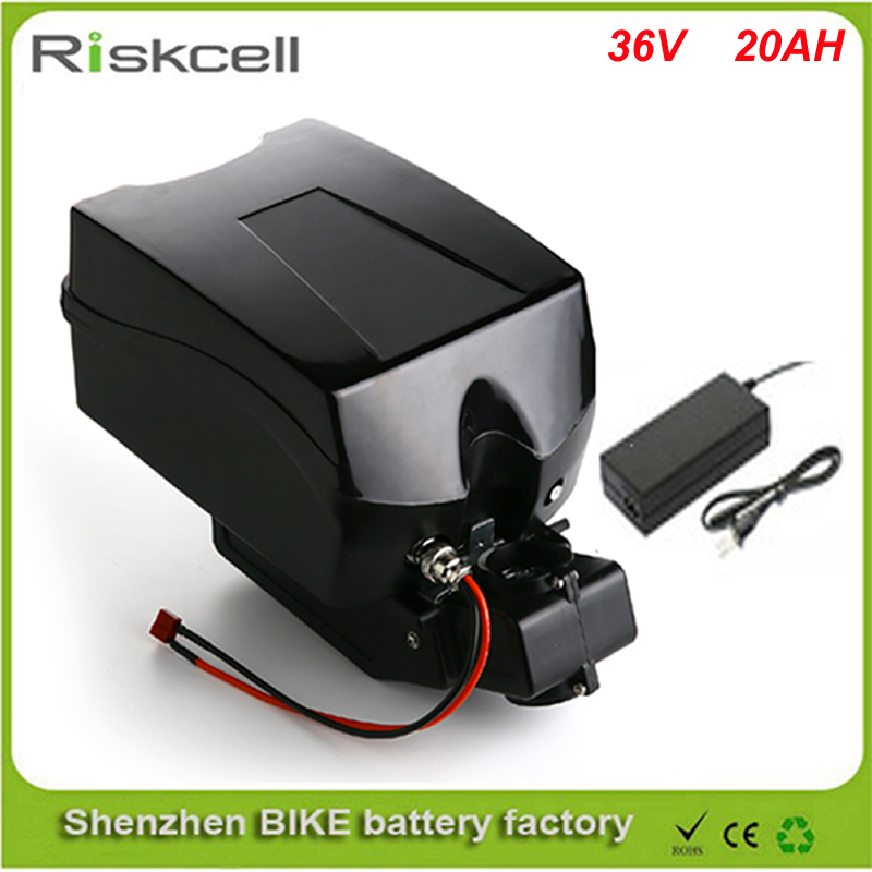 Free shipping 36v 20ah lithium ion ebike battery Frog  case bicycle electric bike battery 36v 500w 750w 1000w with charger kit 48v 1000w electric bike ebike bicycle lithium 20ah battery alloy charger